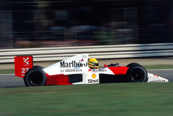 1990 Italian Grand Prix.Monza, Italy. 7-9 September 1990.Ayrton Senna (McLaren MP4/5B Honda) 1st position.Ref-90 ITA 08.World Copyright - LAT Photographic