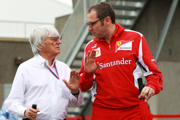 Bernie Ecclestone (GBR) CEO Formula One Group (FOM) and Stefano Domenicali (ITA) Ferrari General Director. Formula One World Championship, Rd7, Canadian Grand Prix, Practice Day, Montreal, Canada, Friday 8 June 2012.