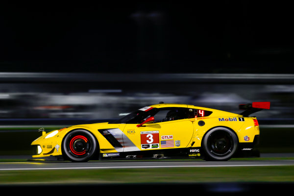 2017 Rolex 24 Hours. Daytona, Florida, USA. Saturday 28 January 2017. 3, Chevrolet, Corvette C7.R, GTLM, Antonio Garcia, Jan Magnussen, Mike Rockenfeller World Copyright: Jake Galstad/LAT Images