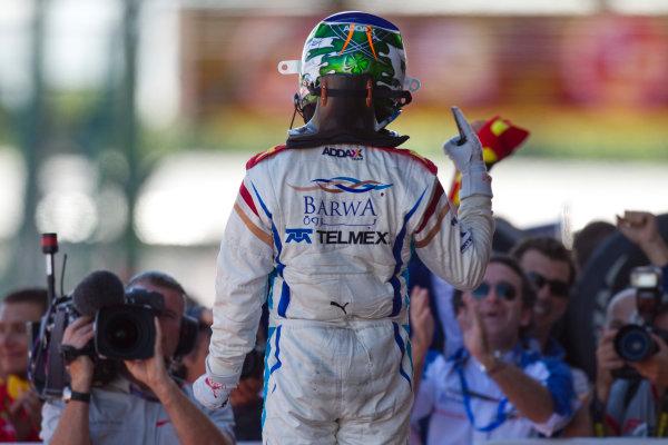 Silverstone, England. 11th July.Sunday Race. Sergio Perez (MEX, Barwa Addax Team) celebrates his victory.Photo: Andrew Ferraro/GP2 Media Service.Ref: __Q0C8231 jpg