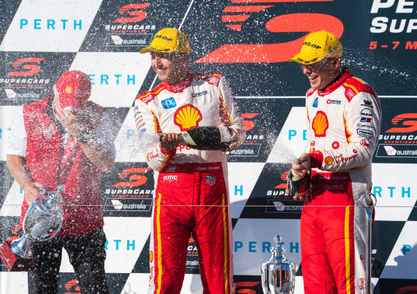 2017 Supercars Championship Round 4.  Perth SuperSprint, Barbagallo Raceway, Western Australia, Australia. Friday May 5th to Sunday May 7th 2017. Roger Penske team owner of DJR Team Penske, Fabian Coulthard driver of the #12 Shell V-Power Racing Team Ford Falcon FGX, Scott McLaughlin driver of the #17 Shell V-Power Racing Team Ford Falcon FGX. World Copyright: Daniel Kalisz/LAT Images Ref: Digital Image 060517_VASCR4_DKIMG_3947.JPG