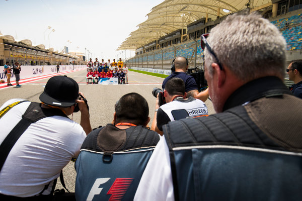 2017 FIA Formula 2 Round 1. Bahrain International Circuit, Sakhir, Bahrain.  Thursday 13 April 2017. Class photo on the grid. Photo: Sam Bloxham/FIA Formula 2. ref: Digital Image _J6I8308