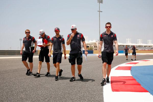Bahrain International Circuit, Sakhir, Bahrain.  Thursday 13 April 2017. Romain Grosjean, Haas F1, walks the track with his team. World Copyright: Andy Hone/LAT Images ref: Digital Image _ONY6107