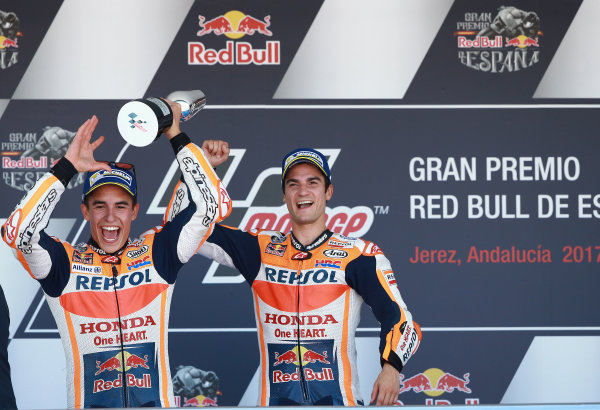 2017 MotoGP Championship - Round 4 Jerez, Spain Sunday 7 May 2017 Podium: Race winner Dani Pedrosa, Repsol Honda Team, second place Marc Marquez, Repsol Honda Team World Copyright: Gold & Goose Photography/LAT Images ref: Digital Image 668744