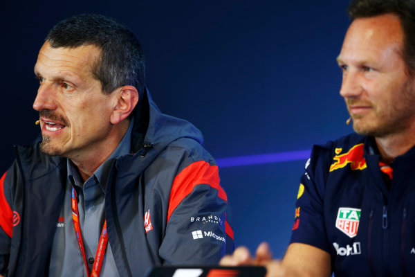 Spa Francorchamps, Belgium.  Friday 25 August 2017. Guenther Steiner, Team Principal, Haas F1, and Christian Horner, Team Principal, Red Bull Racing, in the Team Principals Press Conference. World Copyright: Andy Hone/LAT Images  ref: Digital Image _ONZ9427
