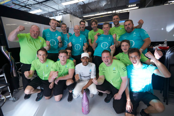 Circuit of the Americas, Austin, Texas, United States of America. Sunday 22 October 2017. Lewis Hamilton, Mercedes AMG, 1st Position, celebrates with the Mercedes team. World Copyright: Steve Etherington/LAT Images  ref: Digital Image SNE10047