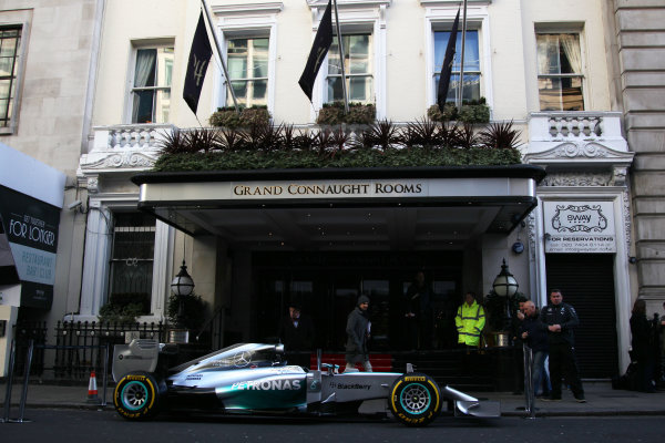 2014 BRDC Annual Awards The Grand Connaught Rooms, London, UK Monday 8 December 2014. Lewis Hamilton's Mercedes F1 car outside the venue. World Copyright: Ebrey/LAT Photographic. ref: Digital Image Mercedes-02