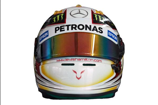 Circuit de Catalunya, Barcelona, Spain. Wednesday 25 February 2015. Helmet of Lewis Hamilton, Mercedes AMG.  World Copyright: Mercedes AMG F1 (Copyright Free FOR EDITORIAL USE ONLY) ref: Digital Image 2015_MERCEDES_HELMET_01