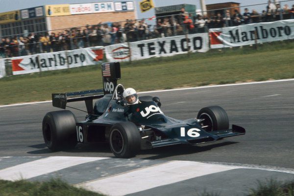 1974 Belgian Grand Prix  Nivelles-Baulers, Belgium. 10-12th May 1974.  Brian Redman, Shadow DN3 Ford, sideways on his way to 18th position.  Ref: 74BEL15. World Copyright: LAT Photographic