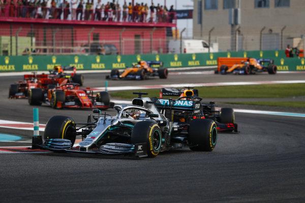 Lewis Hamilton, Mercedes AMG F1 W10, leads Max Verstappen, Red Bull Racing RB15, Charles Leclerc, Ferrari SF90 and Sebastian Vettel, Ferrari SF90