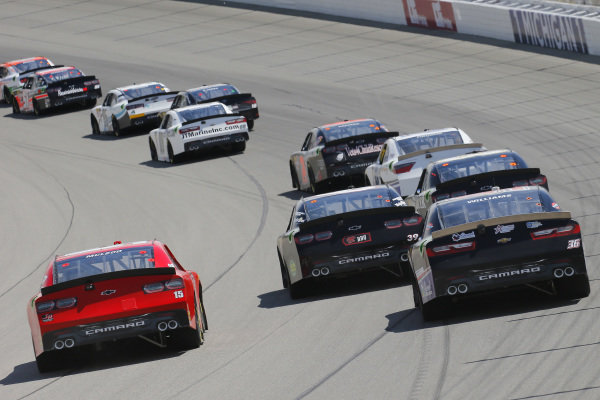 #15: B.J. McLeod, JD Motorsports, Chevrolet Camaro teamjdmotorsports.com and #36: Josh Williams, DGM Racing, Chevrolet Camaro Starbrite Star Tron/Simcraft