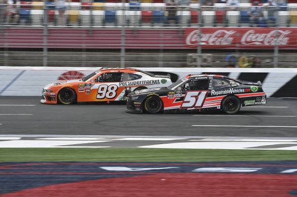#98: Chase Briscoe, Stewart-Haas Racing, Ford Mustang Nutri Chomps/Pet Supermarket,#51: Jeremy Clements, Jeremy Clements Racing, Chevrolet Camaro RepairableVehicles.com