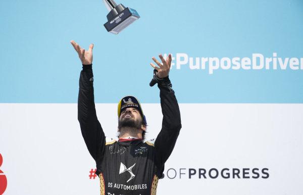 Antonio Felix da Costa (PRT), DS Techeetah, 3rd position, throws his trophy in the air on the podium