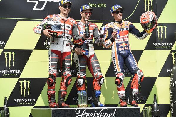 Podium: race winner Andrea Dovizioso, Ducati Team, second place Jorge Lorenzo, Ducati Team, third place Marc Marquez, Repsol Honda Team.