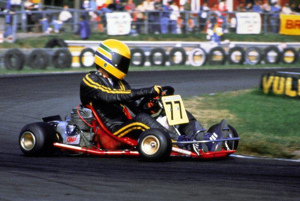 Ayrton Senna (BRA). World Karting Championship, Kalmar, Sweden. 1982