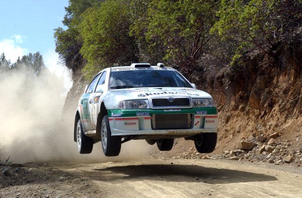 World Rally Championship, Cyprus Rally, April 18-21, 2002.Kenneth Eriksson jumps his Skoda Octavia on Stage 1, Leg 1.Photo: Ralph Hardwick/LAT