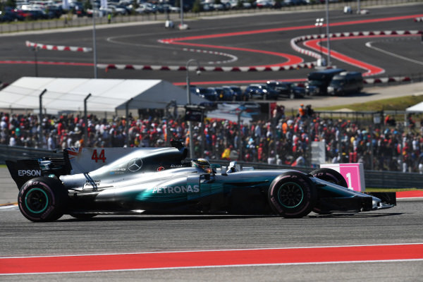 Lewis Hamilton (GBR) Mercedes-Benz F1 W08 Hybrid at Formula One World Championship, Rd17, United States Grand Prix, Race, Circuit of the Americas, Austin, Texas, USA, Sunday 22 October 2017. BEST IMAGE