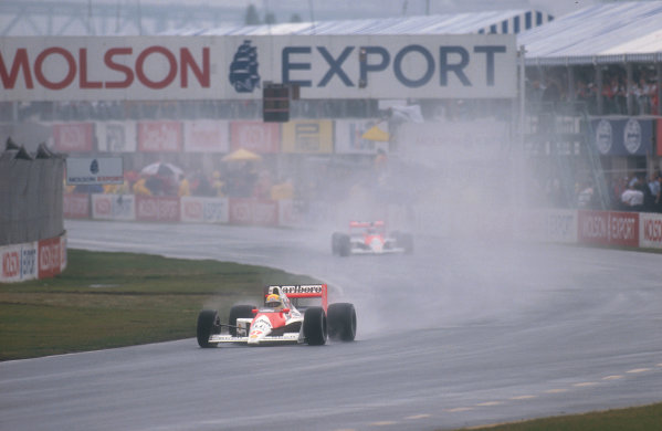 1990 Canadian Grand Prix.Montreal, Canada.8-10 June 1990.Ayrton Senna with teammate Gerhard Berger (both McLaren MP4/5B Honda's) behind. They finished in 1st and 4th positions respectively.Ref-90 CAN 07.World Copyright - LAT Photographic