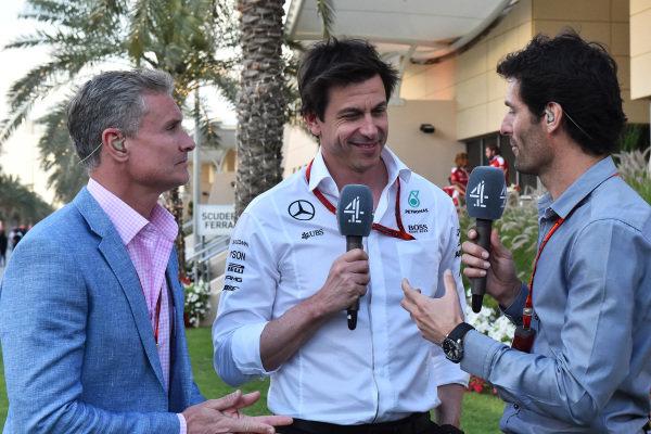 David Coulthard (GBR) Channel Four TV Commentator, Toto Wolff (AUT) Mercedes AMG F1 Director of Motorsport and Mark Webber (AUS) at Formula One World Championship, Rd2, Bahrain Grand Prix Race, Bahrain International Circuit, Sakhir, Bahrain, Sunday 3 April 2016.
