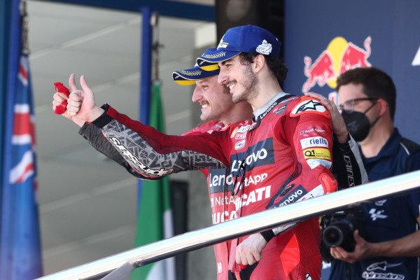 Podium: Jack Miller, Ducati Team, Francesco Bagnaia, Ducati Team.