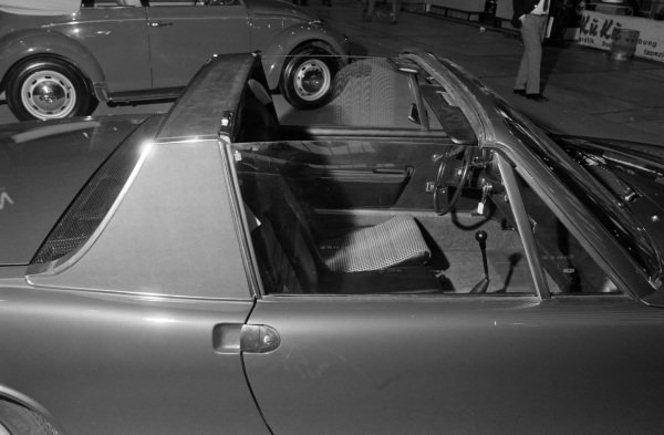 Porsche 914 with its targa top removed.