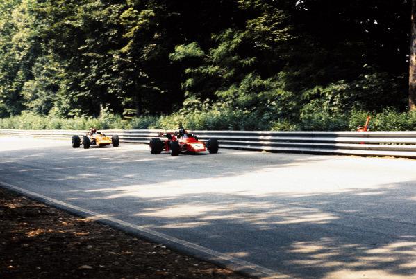 Graham Hill, Brabham BT38 Ford/R.E.S, leads Ernesto Brambilla, March 712M Ford/Novamotor.