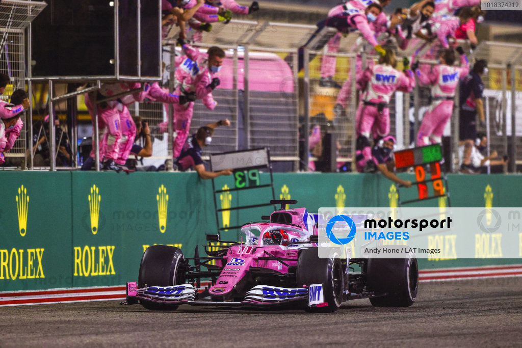 Sergio Perez, Racing Point RP20, 1st position, takes victory