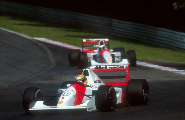 1992 German Grand Prix.Hockenheim, Germany.24-26 July 1992.Ayrton Senna (McLaren MP4/7A Honda) 2nd position, with teammate Gerhard Berger (McLaren MP4/7A Honda) behind. World Copyright - LAT Photographic