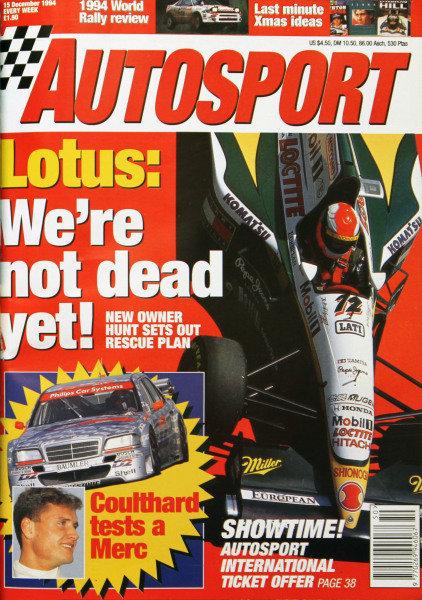 Cover of Autosport magazine, 15th December 1994
