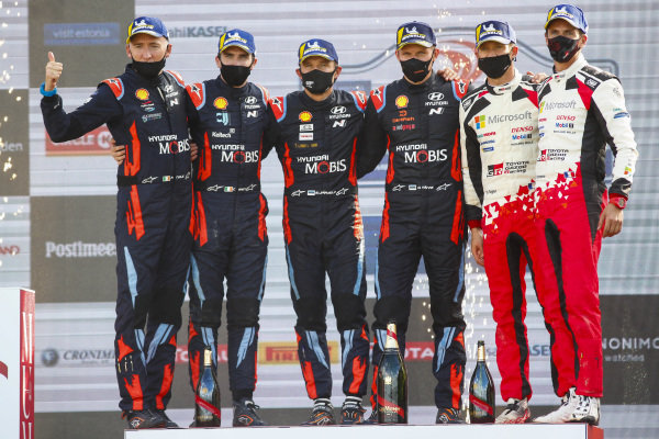 Ott Tänak (EST) and Martin Järveoja (EST), Hyundai World Rally Team, Hyundai i20 Coupe WRC 2020, Craig Breen (IRE) and Paul Nagle (IRE), Hyundai World Rally Team, Hyundai i20 Coupe WRC 2020 Sébastien Ogier (FRA) and Julien Ingrassia (FRA), Toyota Gazoo Racing WRT, Toyota Yaris WRC 2020