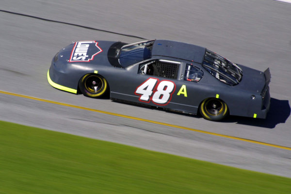 2002 NASCAR Cup TestingDaytona, Florida, USA. 8th January 2002.The No. 48 Car of Jimmie Johnson, fastest rookie of the day, action. World Copyright: Greg Aleck/LAT Photographicref: Digital Image Only