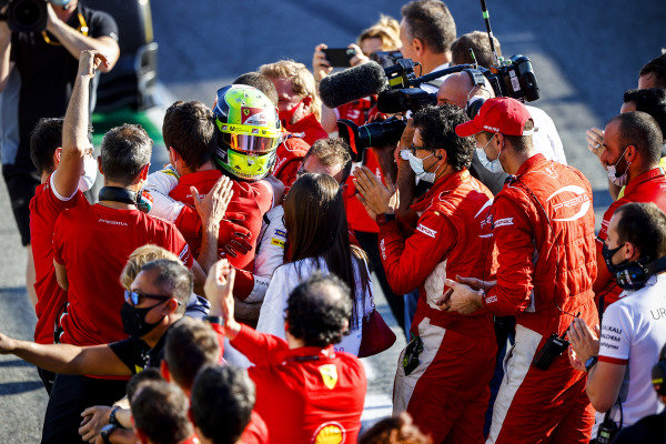 Race Winner Mick Schumacher (DEU, PREMA RACING) celebrates in Parc Ferme