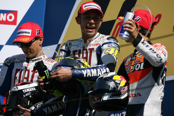Misano, Italy. 4th - 6th September 2009.MotoGP podium Lorenzo Rossi and Pedrosa .World Copyright: Martin Heath/LAT Photographicref: Digital Image SE5K9232