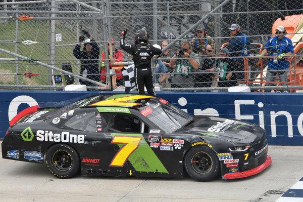 #7: Justin Allgaier, JR Motorsports, Chevrolet Camaro SiteOne Landscape Supply, celebrates after winning.
