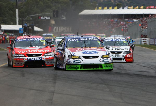 The Ford Performance Racing V8 Supercar of Mark Winterbottom leads the field off the line at the start of the Clipsal 500, Round 01 of the Australian V8 Supercar Championship Series at the Adelaide Street Circuit, Adelaide, South Australia, February 24, 2008.
