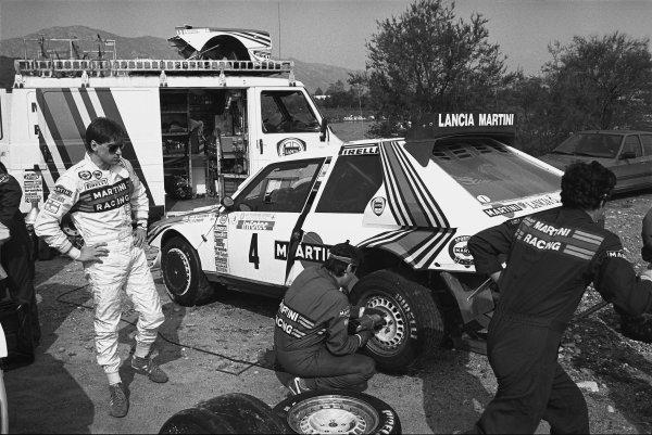Tour de Corse, Ajaccio, Corsica, France. 1st - 3rd May 1986. Rd 5.Henri Toivonen/Sergio Cresto (Lancia Delta S4), Fatal accident, here at service, portrait. World Copyright: LAT Photographic.Ref:  86 - 515 - 20A.