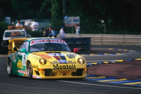 Le Mans, France. 6th - 7th June 1998.Manuel Monteiro/Michel Monteiro/Michel Maisonneuve (Porsche 911 GT2), retired, action. World Copyright: LAT Photographic.Ref: 98LM16.