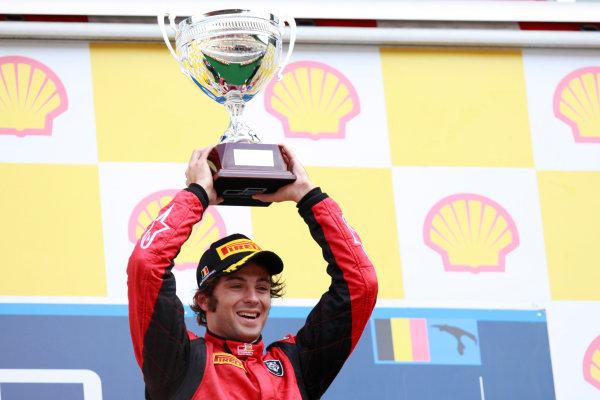 Spa - Francorchamps, Spa, Belgium. 28th August. Sunday Race. Luca Filippi (ITA, Scuderia Coloni) celebrates his victory on the podium. Photo: Alastair Staley/GP2 Media Service. Ref: AS5D4413 jpg