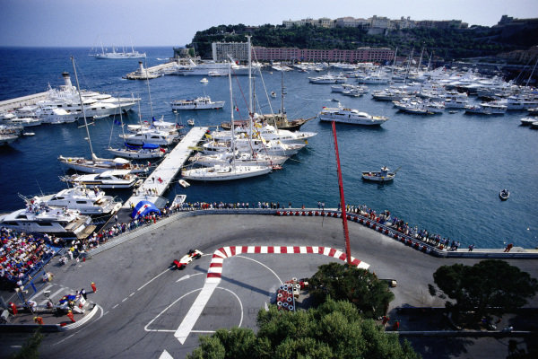 View across the harbour as Ayrton Senna, McLaren MP4-5 Honda, goes through the chicane.