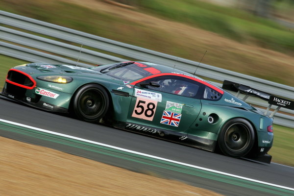 Tomas Enge (CZE) /  Peter Kox (NLD) / Pedro Lamy (PRT), Aston Martin Racing DBR9, was the fastest qualifier in the GT1 class. Le Mans 24 Hours, Second Qualifying, Le Mans, France, 16 June 2005. DIGITAL IMAGE
