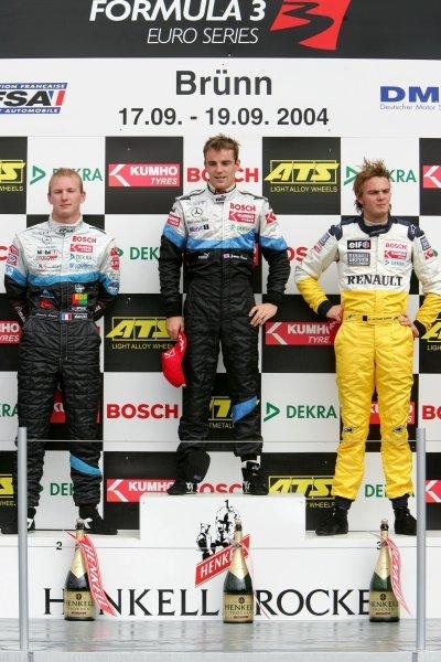 Race 2 podium & results:1st Jamie Green (GBR), ASM F3, centre.2nd Alexandre Premat (FRA), ASM F3.3rd Giedo van der Garde (NED), OPEL Team Signature-Plus.Formula 3 Euroseries, Rd9, Brno, Czech Republic. 19 September 2004. DIGITAL IMAGE