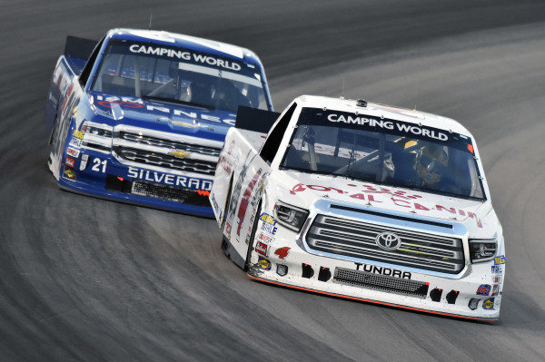 #4: Todd Gilliland, Kyle Busch Motorsports, Toyota Tundra Royal Canin and #21: Johnny Sauter, GMS Racing, Chevrolet Silverado ISM Connect