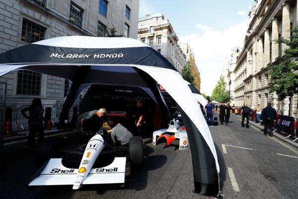 London, United Kingdom.  Wednesday 12 July 2017. A 1991 Ayrton Senna McLaren MP4/6 is prepared for a demo run. World Copyright: Steven Tee/LAT Images  ref: Digital Image _O3I9083