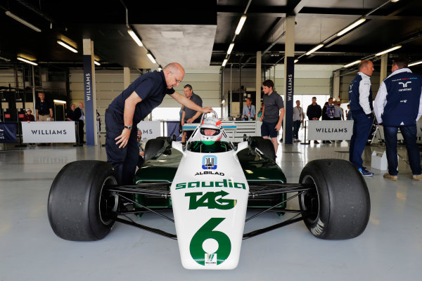 Williams 40 Event Silverstone, Northants, UK Friday 2 June 2017. Martin Brundle in the cockpit of a six-wheeled Williams FW08. World Copyright: Zak Mauger/LAT Images ref: Digital Image _56I9678