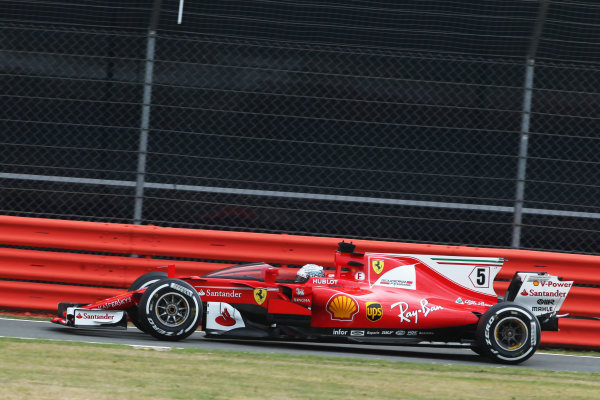 Silverstone, Northamptonshire, UK.  Friday 14 July 2017. Sebastian Vettel, Ferrari SF70H running with the shield attached. World Copyright: Coates/LAT Images  ref: Digital Image AN7T4097