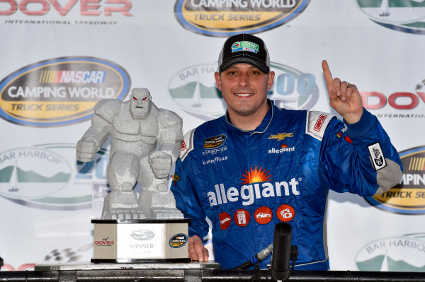 NASCAR Camping World Truck Series Bar Harbor 200 Dover International Speedway, Dover, DE USA Friday 2 June 2017 Johnny Sauter, Allegiant Airlines Chevrolet Silverado celebrates his win in Victory Lane World Copyright: Nigel Kinrade LAT Images ref: Digital Image 17DOV1nk06913
