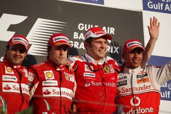 (L to R): Felipe Massa (BRA) Ferrari, Fernando Alonso (ESP) Ferrari, Stefano Domenicali (ITA) Ferrari General Director and Lewis Hamilton (GBR) McLaren on the podium. 