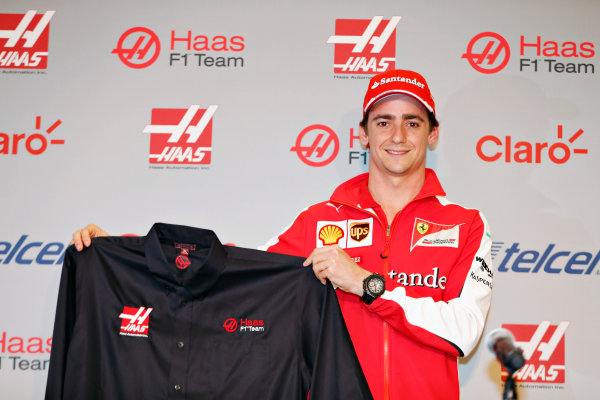 Autodromo Hermanos Rodriguez, Mexico City, Mexico. Saturday 31 October 2015. Esteban Gutierrez is announced as a Haas F1 driver for the 2016 season. World Copyright: Steven Tee/LAT Photographic. ref: Digital Image _X0W8532