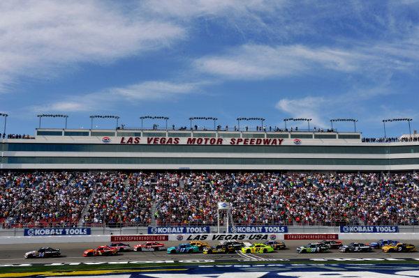9-11 March, 2012, Las Vegas, Nevada USATony Stewart leads a restart(c)2012, LAT SouthLAT Photo USA
