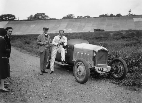 Brooklands, England. 1st August 1925.A E. Moss (Fronty Ford Speed Sport), 1st position, 75mph Short Handicap Race, portrait.World Copyright: LAT Photographic.Ref: Autocar Glass Plate A5036.